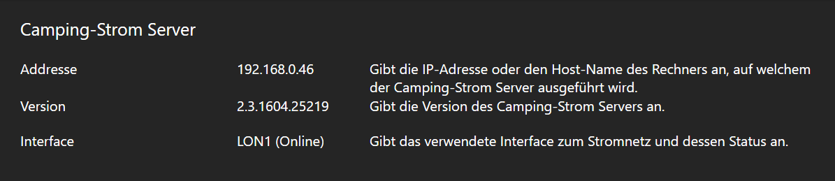 Camping-Strom Manager - Camping-Strom Server